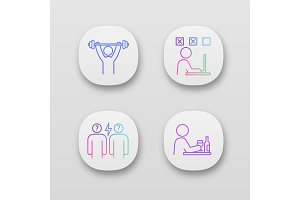 Emotional stress app icons set
