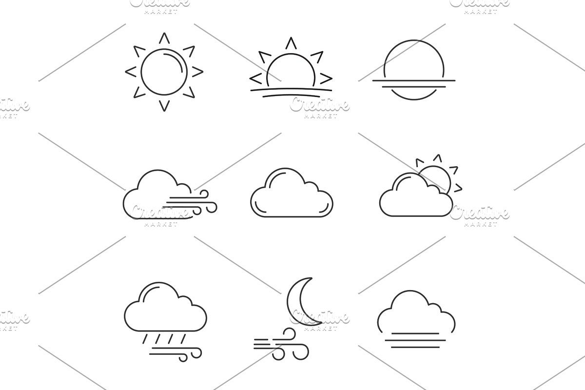 Weather forecast linear icons set