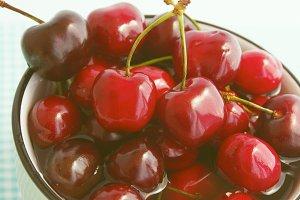 Red cherries closeup