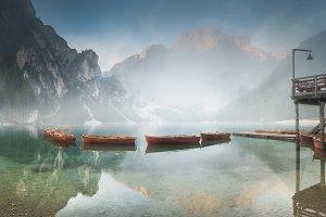 Lago di Braies in Dolomites, Italy