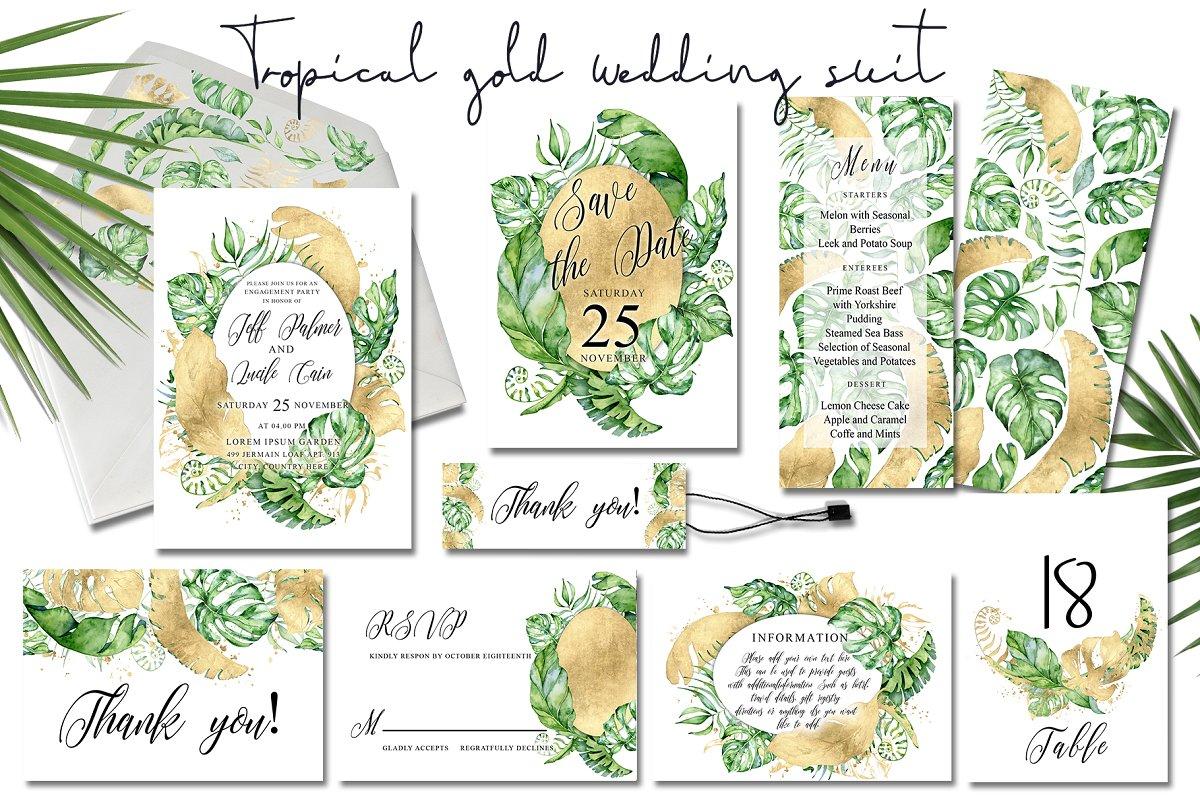 Tropical gold wedding invitation