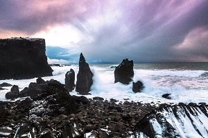 Black Cliffs of stone in Iceland