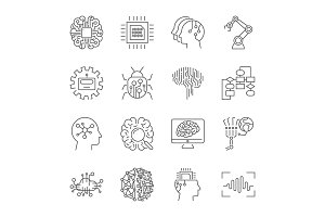 Set of machine learning line icons