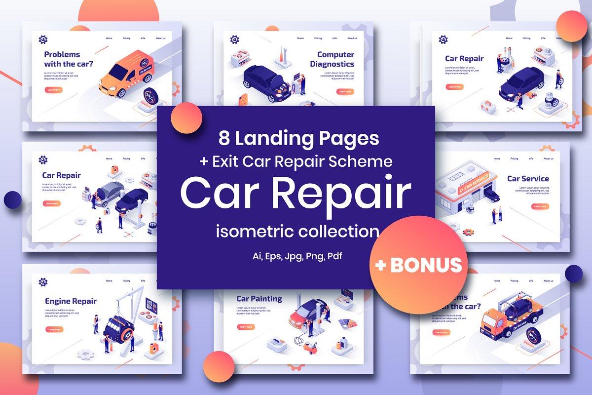 Car Repair Set Isometric Design