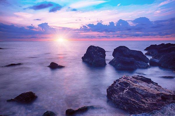 Stock Photos: Nature and travel - Sunrise at sea