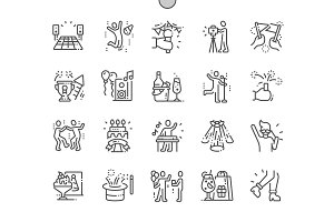 Party and Celebration Line Icons