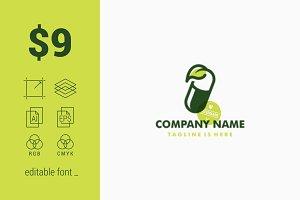 Herbal Capsule Pill Leaf Logo