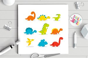 Cute Fun Cartoon Dinosaurs