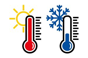 Thermometer icon or temperature