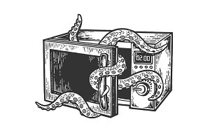 Octopus in microwave oven engraving