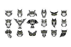 Cute owls, black silhouette
