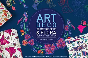 Art Deco Bird & Flora Design Set