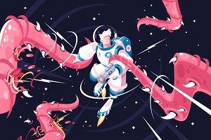 Astronaut vs alien tentacles