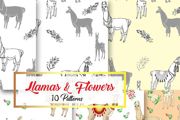 Llama Digital Paper with Floral