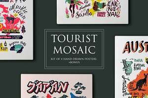 Tourist mosaic. Hand-drawn posters
