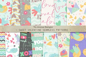 Sweet Valentine Seamless Patterns