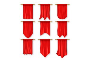 Pennat Flag Set Vector. Red Empty