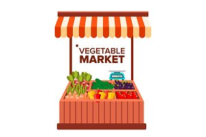 Vegetable Market Vector. Natural Eco