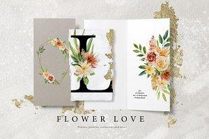 Flower Love - Watercolor Graphic Set