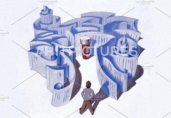 Pill Maze Handmade Illustration