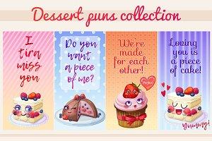 Sweet dessert puns banners set