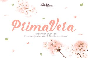 Primavera is handwritten brush font