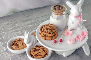 Cookies, milk and Easter bunnies.