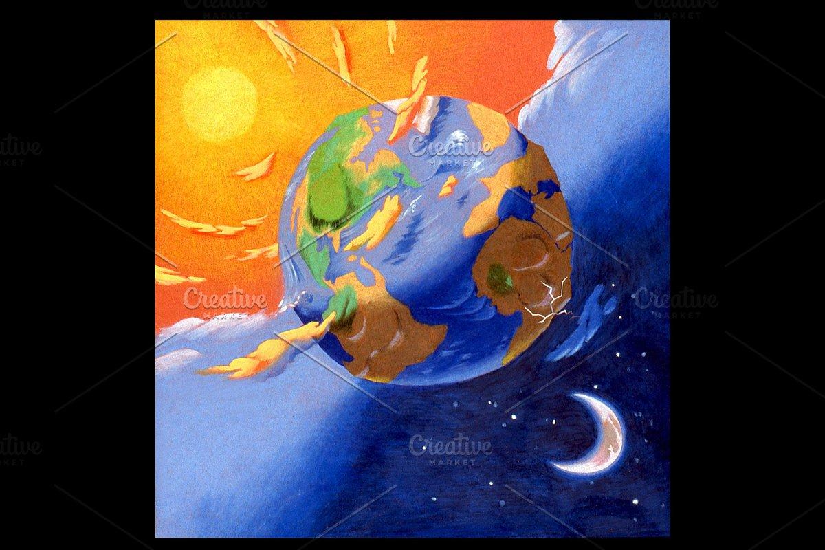 Earth Night Handmade Illustration