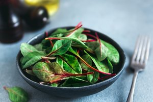 Fresh salad of green chard leaves or