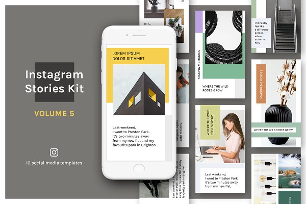 Social Media Templates: uispot - Instagram Stories Kit (Vol.5)