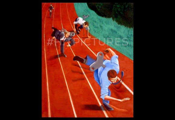 Wind Up Runner Handmade Illustration