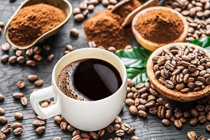 Roasted coffee beans, ground coffee