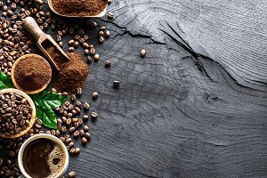 Roasted coffee beans  and ground cof
