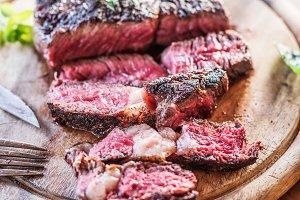 Medium rare Ribeye steak or beef ste