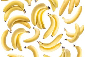 Banana bunches on the white backgrou