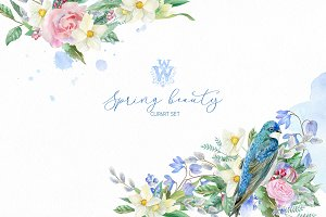Watercolor spring bouquets