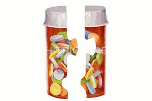 Pill Puzzle Handmade Illustration