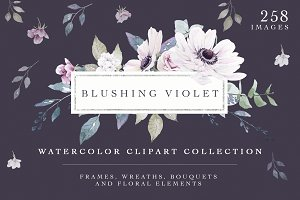 Blushing Violet Watercolor Clipart