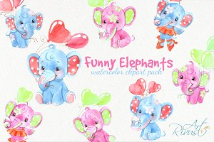 Funny watercolor animals clipart