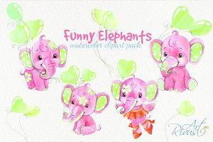 Watercolor elephant girls clipart