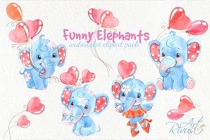 Watercolor elephant boys clipart