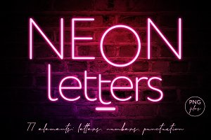 Pink Neon Letters clipart