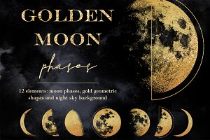 Golden moon phases clipart