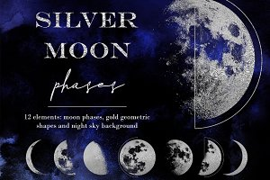 Silver moon phases clipart