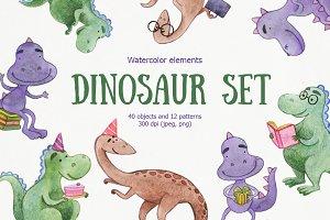 Watercolor dinosaur set