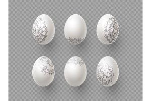 3d Easter eggs with handdrawn
