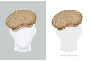 Flat Peaked cap. Classic head male.