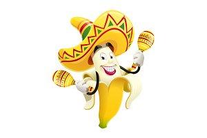 Ripe banana with maracas. Tropical.