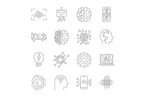 Future technologies icons. AI