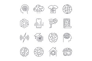 Set of icons in trendy linear style